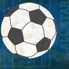 Oopsy Daisy - Soccer All Star - Blue Canvas Wall Art 18x18, Vicky Barone