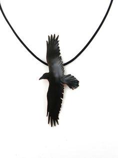 Handmade black patina copper crow pendant by ImagesbyKentOlinger