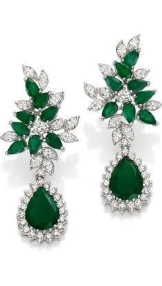 Solitaire Earrings, Gold Diamond Earrings, Emerald Earrings, Emerald Jewelry, Emerald Diamond, Gold Jewelry, Enamel Jewelry, Platinum Earrings, Men's Jewellery