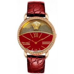 638e5908e984 Versace Women s Krios Rose Gold Ion-Plated Leather Watch - Red Relojes  Finos