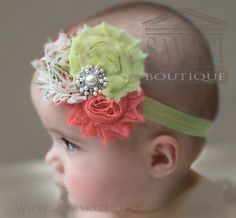 Easter coral pink and lt. green Baby headband por SAVANIboutique