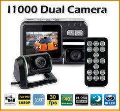 "TOP 2.0"" Dual Lens Car DVR Camera i1000 DVR Dual Camera HD 1080P Dash Cam Black Box With Rear 2 Cam Vehicle View Car Recorder"