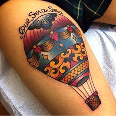 Que sera sera tattoo - hot air balloon.