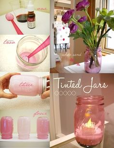 How-to Tint Mason Jars. Mason Jar Projects, Mason Jar Crafts, Mason Jar Diy, Bottle Crafts, Diy Jars, Dye Mason Jars, Pink Mason Jars, Craft Gifts, Diy Gifts