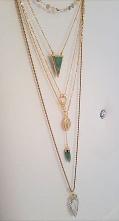 Holden chains with beautiful raw crystal arrow pendant or triangle chrysoprase