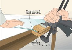 How To Make A Clean Break With Glass.  This is one way that works if you don't have a large amount to take off.  A good, sharp bench edge, with the glass firmly clamped to the work bench works too.