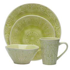 Merkado 16-piece Green Dinnerware Set - Overstock Shopping - Great Deals on Casual Dinnerware