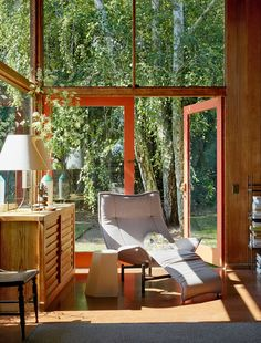Charles and Ralph found this Mill Valley house made of red cedar and glass, for rent on the hills of San Francisco. By architect Donn Emmons