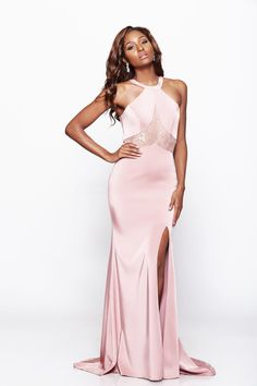 Milano Formals - Sleeveless High Neck Lace Embellished Fit and Flare Long Dress E2043