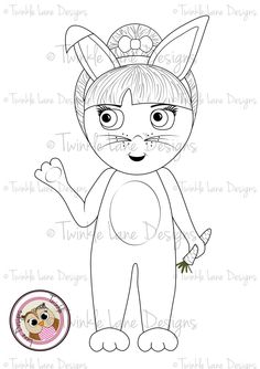 Betty Bunny Digi Stamp Card Topper Rabbit Fancy Dress Girl Character
