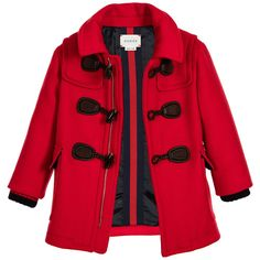 Red wool and cashmere baby boys duffle coat from Gucci. This ...