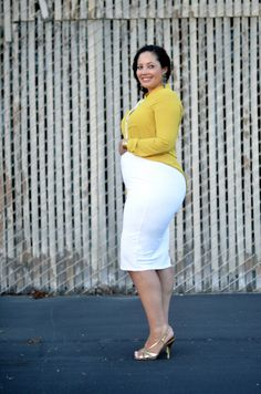 Pencil skirts? Yes. | 21 Cool Ways To Own Maternity Style When You're Pregnant