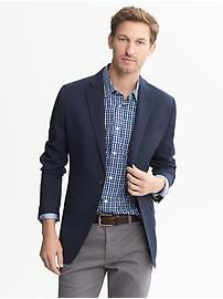 Tailored-Fit Blue Wool Two-Button Blazer