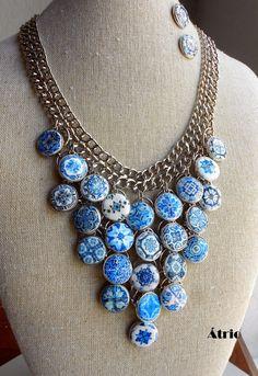 Portugal 25 Antique Azulejo BLUE TILE BiB NeCKLACE SeT   by Atrio