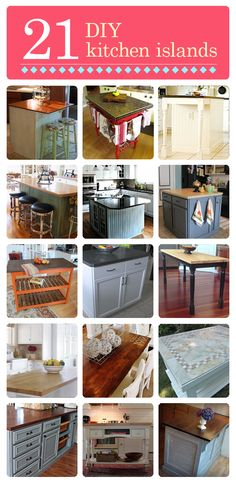 Kitchen islands are supposed to be another big #kitchentrend 2013 - here are  21 DIY Kitchen Islands.