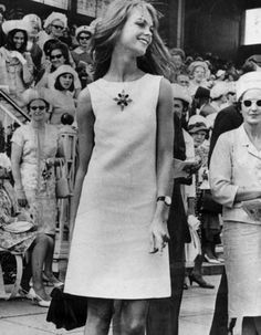 British model Jean Shrimpton wearing that now-famous mini at Melbourne Cup in 1965. DARE TO BE DIFFERENT.