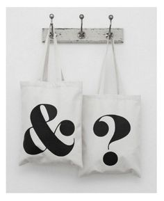 Ampersand and Question Mark Tote Bags / by Alphabet Bags Travel Tote, Black Tote, Inspirational Gifts, Canvas Tote Bags, Shopping Bag, Alphabet, Creations, Reusable Tote Bags, Gym Bag