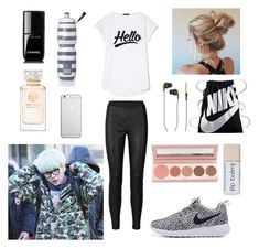 """Dance practice with Suga"" by bts-outfit-imagines on Polyvore featuring Native Union, Victoria's Secret, NIKE, Chanel, 100% Pure, Tory Burch and Kreafunk"