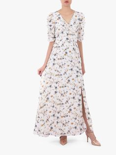 Buy Jolie Moi Puffy Sleeved Maxi Dress, Cream Floral from our Women's Dresses range at John Lewis & Partners. Fabric Covered Button, Covered Buttons, Puff Sleeves, Maxi Dress With Sleeves, Classic Outfits, Uk Shop, Warm Weather, Vintage Inspired, Floral Prints