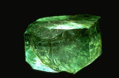 858 carat uncut Gachala Emerald. Rarely are emerald crystals of such size and superb color preserved; they are usually cut into gems.