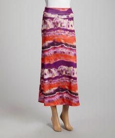 Look at this #zulilyfind! Pink & Purple Watercolor Fold-Top Maxi Skirt #zulilyfinds