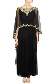 Black embroidered cape anarkali set available only at Pernia's Pop-Up Shop.