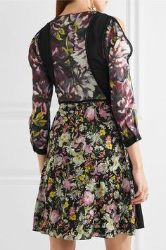 3.1 Phillip Lim - Meadow Flower Cold-shoulder Printed Silk-crepe Dress - Black - US12