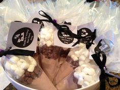 Hot chocolate ice skating party favors.