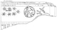"""Drawing of a late Babylonian tablet that represents the moon exalted in Taurus. The 3 symbols illustrate the constellations MUL.MUL zappu """"The Star Cluster"""" (Greek: Pleiades), the moon, and MULGU4.AN.NA alû/is lê """"The Steer/Bull of Heaven"""" (Greek: Taurus) in the order of the moon's transit. The moon in between is positioned to show its exaltation in Taurus. In the lunar disk the God Marduk is wrestling a lion eclipse. Staatliche Museen zu Berlin, no. VAT 7851"""