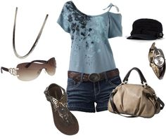 A fashion look from March 2012 featuring tee-shirt, denim shorts and flats sandals. Browse and shop related looks. Short Outfits, Cool Outfits, Summer Outfits, Casual Outfits, Fashion Outfits, Love Fashion, Womens Fashion, Shorts, Spring Summer Fashion