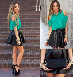 THE SHOULDER CUTOUT BLOUSE AND THE FULL LEATHER SKIRT (by Maria De La Cruz) http://lookbook.nu/look/3998498-THE-SHOULDER-CUTOUT-BLOUSE-AND-THE-FULL-LEATHER-SKIRT
