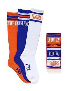 I want these socks too cute.Victoria's Secret PINK University of Florida Sock Gift Set Colleges In Florida, University Of Florida, State University, Florida Gators Football, Football Baby, College Football, Alabama Football, Football Season, American Football