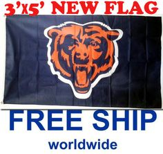 FREE SHIPPING DELUXE FLAG CHICAGO BEARS NFL 3'x5' SOLDIER FIELD BEAR