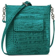 88998cd26e OSPREY LONDON The Carapace Polished Croc Leather Cross Body Bag - Kingfisher