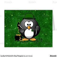 Send  #StPatricksDay Greetings with this lucky  Penguin with a #PotOfGold! #Gravityx9 #Zazzle