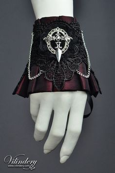 Beautiful Gothic Victorian Cuff Bracelet with bat wings, Lolita Vampire Style, Dark Fashion, Elegant Goth Wedding Jewelry, Red Accessories https://www.etsy.com/shop/Vilindery