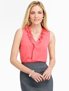 Talbots - Ruffled V-Neck Blouse | | Misses Discover your new look at Talbots. Shop our Ruffled V-Neck Blouse for stylish clothing and accessories with a modern twist at Talbots