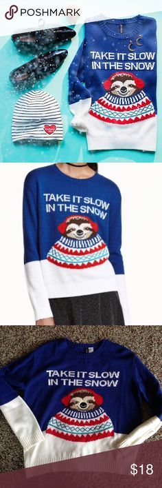 NWT H&M Sloth Sweater This lightweight sweater is perfect for sloth fans! Embroidered eyes, nose and turquoise collar. New and never worn! H&M Sweaters