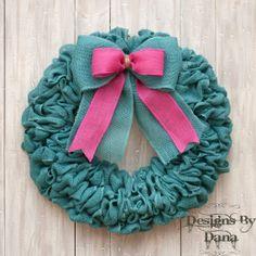 Turquoise Burlap Wreath Spring Wreath Easter by DesignsByDanaC
