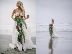 Photography: Erin Wallis Photography Sometimes serendipity just takes the cake… so to speak. Our West Coast Inspiration editorial … Spring Wedding Inspiration, Engagement Inspiration, Wedding Ideas, Sunset Wedding, Dream Wedding, Wedding Beach, Pnina Tornai Dresses, Beach Wedding Photography, Island Weddings