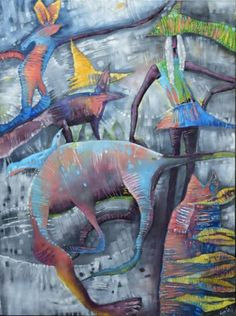 """Martha and the Imaginary Managerie"" by Lisa Bartell. I am so in love with her use of color, and how she creates so much movement with her strokes. Amazing work."