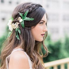 Simple yet boho chic bridal hair with gorgeous headpiece & greens #hair…