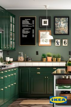 dark green kitchen Design a completely customizable kitchen with IKEA SEKTION kitchens. Utilize full kitchen services and furnish with appliances and kitchen accessories. Dark Green Kitchen, Green Kitchen Decor, Green Kitchen Cabinets, Home Decor Kitchen, Kitchen Design, Dark Cabinets, Kitchen Ideas, Green Kitchen Interior, Shaker Style Kitchens