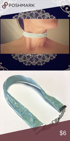 🌼🌷🌸💠Perfect Crushed Velvet Choker💠🌸🌷🌼 💠Perfect Crushed Velvet Choker💠 Classic, Chic, and RICH!   This Choker is made of 12 inches of Mint Crushed velvet ➕A 2 inch Polished silver extender chain and Lobster clasp.  Made in Love, by Mwah💋!  🖤🖤Got q's I'm here!🖤🖤 Mwah💋 Jewelry Necklaces