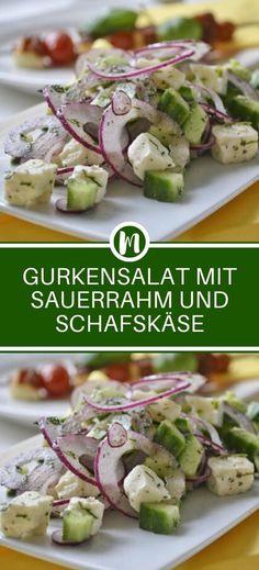 Salatgurken 200 g Saure Sahne 150 g Joghurt 2 EL Magerquark . All U Can Eat, Dessert Blog, Yogurt Cups, Cooking Recipes, Healthy Recipes, Catering Food, Superfood, Tahini, Salad Recipes