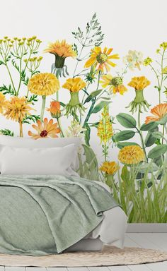 Bring beauty to your walls with this stunning Yellow Meadow wallpaper by Uta Naumann. This stunning floral wallpaper would make a fabulous feature wall in a sage green and white bedroom with touches of yellow here and there. #mustardwallpaper #flowerwallpaper #floralbedroomwallpaper