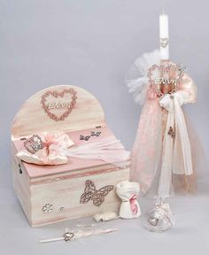Baby Hamper, Christening, Decorative Boxes, Butterfly, Candles, Greek, Home Decor, Girls, Soaps