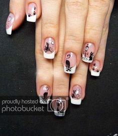 Uñas nail art design gallery nail designs coffin french tip nail designs for short nails nail art stickers online nail art sticker stencils full nail stickers Cat Nail Art, Animal Nail Art, Cat Nails, Fancy Nails, Pretty Nails, Gel Nail Art Designs, Studded Nails, Nail Art Rhinestones, French Tip Nails
