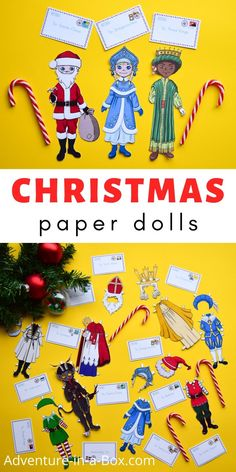 Learn about Christmas traditions around the world with Christmas paper dolls, featuring nineteen gift-bringing characters from different cultures! #christmas #christmasaroundtheworld #christmasforkids #paperdolls #christmasdiy #papercrafts #homeschool #homeschooling