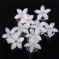 10 pcs Swirl Spiral Bridal Wedding Twist Crystal Flower Hair Spin Pins Women Hair Jewelry Girls Accessories (2cm)